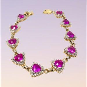 Jewelry - Sterling/gold overlay, rubies* bracelet